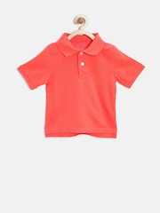 The Childrens Place Boys Orange Solid Polo T-shirt
