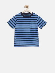 The Childrens Place Boys Blue Striped Round Neck T-shirt
