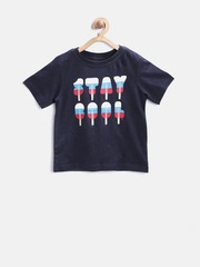 The Childrens Place Boys Navy Printed Round Neck T-shirt
