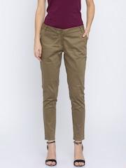 Park Avenue Women Khaki Solid Slim Fit Flat-Front Trousers