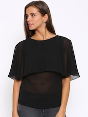 Park Avenue Women Black Solid Layered Sheer Top