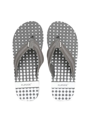 Flipside Men Grey & White Printed Flip-Flops