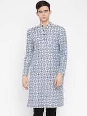 Svanik Men Blue & White Woven Design Kurta