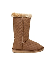 Carlton London Women Brown Quilted High-Top Flat Boots
