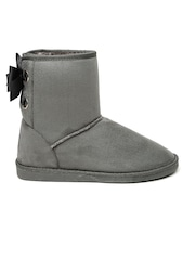 Carlton London Women Grey Solid High-Top Flat Boots