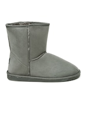 Carlton London Women Grey Solid High-Tops Flat Boots