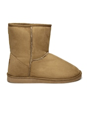 Carlton London Women Tan Brown Solid High-Top Flat Boots