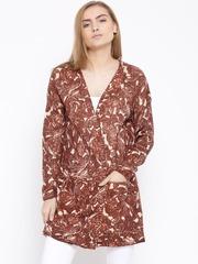 Vero Moda Women Brown Patterned Longline Cardigan