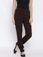 Vero Moda Women Burgundy & Black Casual Trousers