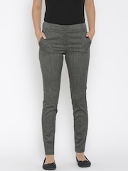 Vero Moda Women Charcoal Grey Self-Design Flat-Front Trousers