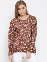 Vero Moda Women Brown & Peach-Coloured Printed Sweater