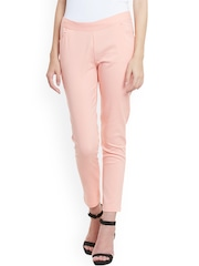 STREET 9 Women Pink Solid Slim Fit Flat-Front Trousers