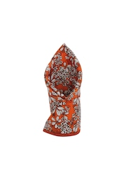 Alvaro Castagnino Orange Floral Print Pocket Square