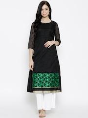 Biba Women Black Floral Embroidered Straight Kurta
