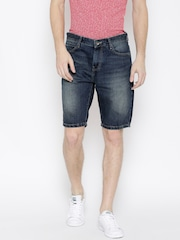 United Colors of Benetton Men Navy Blue Washed Slim Fit Denim Shorts