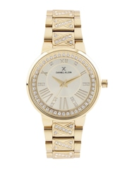 Daniel Klein Premium Women Gold-Toned Stone-Studded Dial Watch DK11017-2