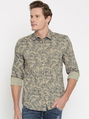Jack & Jones Men Beige Slim Fit Printed Casual Shirt