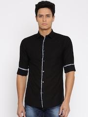 Jack & Jones Men Black Slim Fit Self-Design Casual Shirt