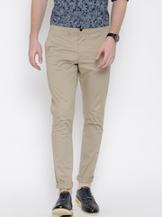 Jack & Jones Men Beige Solid Slim Fit Flat-Front Trousers