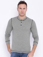 Slub Men Grey Melange Henley T-Shirt
