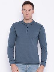 Slub Men Blue Solid T-shirt