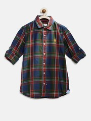 U.S. Polo Assn. Kids Boys Navy & Red Checked Casual Shirt