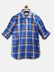 U.S. Polo Assn. Kids Boys Blue Checked Casual Shirt