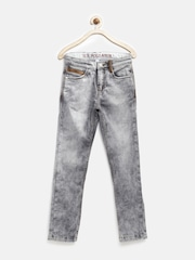 U.S. Polo Assn. Kids Boys Grey Slim Fit Mid-Rise Jeans