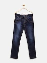 U.S. Polo Assn. Kids Boys Blue Slim Fit Mid-Rise Jeans