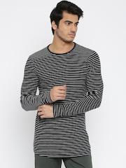 SELECTED Men Navy Blue & White Striped T-shirt