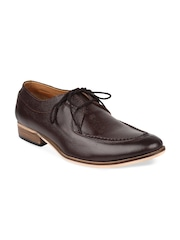 LUJO Men Coffee Brown Leather Formal Shoes