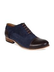 LUJO Men Blue & Brown Suede Leather Brogues