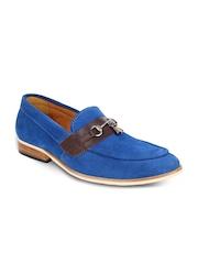 LUJO Men Blue Handmade Leather Tassel Loafers