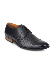 LUJO Men Black Leather Handmade Formal Shoes