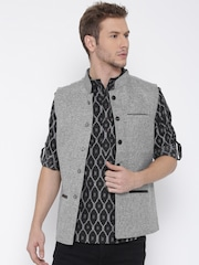 indus route by Pantaloons Grey Patterned Sleeveless Nehru Jacket