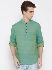 indus route by Pantaloons Men Green & Blue Woven Design Straight Short Kurta