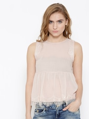 FOREVER 21 Women Light Pink Lace Detail Flared Top