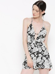 FOREVER 21 Black & White Floral Print Playsuit