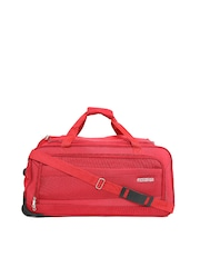 AMERICAN TOURISTER Unisex Red Textured Amt Pep Medium Trolley Duffel Bag