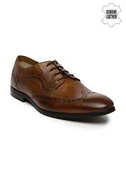 Ruosh Work Men Tan Brown Genuine Leather Semiformal Brogues