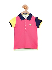 Cherry Crumble Girls Pink & White Colourblocked Polo T-shirt