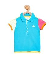 Cherry Crumble Girls Turquoise Blue & Yellow Colourblocked Polo T-shirt