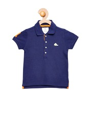 Cherry Crumble Girls Navy Solid Polo T-shirt