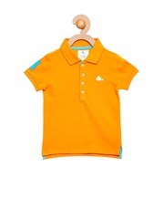 Cherry Crumble Girls Orange Solid Polo T-shirt