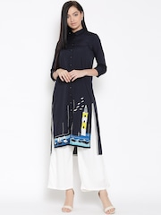 W Women Navy Blue Solid Straight Kurta