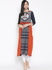 W Women Navy Blue Woven Design Straight Kurta