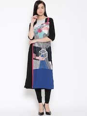 W Women Black Printed Kurta
