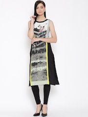 W Women Black & Off-White Printed Straight Kurta
