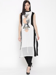 W Women White Printed Straight Kurta