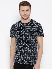 Celio Men Navy Printed Round Neck T-Shirt